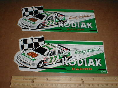 2 Rusty Wallace Kodiak tobacco vtg new 1989 Pontiac NASCAR racing decal Sticker