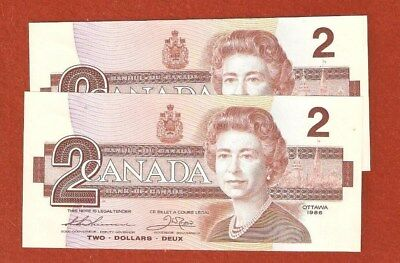2 1986 Consecutive Serial Number Two Dollar Bank Notes Gem Uncirculated E205
