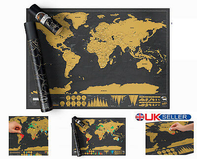 42*30cm Black Deluxe Travel Wall Sticker Scratch Travel Map Xmas Gifts With Tube