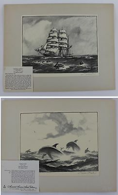 Antique Early 20thC Pencil Signed GORDON GRANT Porpoise & Sailboats Lithographs