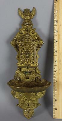 Victorian Antique Cast Brass Gothic Medallion Head Wall-Mounted Match Safe, NR