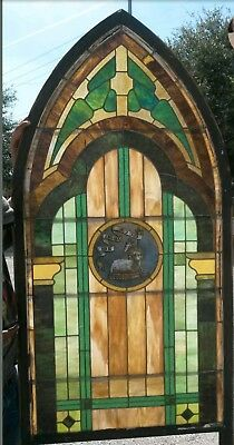 Antique Arch Top Vintage Church Stained Glass Window 8 ft x 3 ft