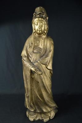 K352:Japanese Resin Kannon-shaped BIG ORNAMENTS Display Okimono Buddhist art