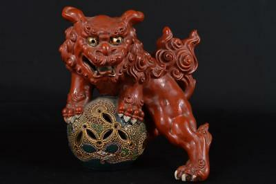 R182: Japan Old Kutani-ware Lion-shaped ORNAMENTS Display Okimono Tea Ceremony