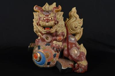 R3226: Japan Kutani-ware Colored porcelain Flower pattern Lion STATUE sculpture