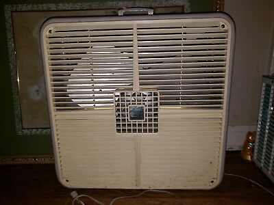 """Vintage Monarch Aire 22"""" Metal Electric Box Fan model RA 20 PB 115v WORKS WELL"""
