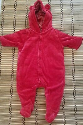 Baby Gap Red Velour Bear Footed Hoodie Outerwear Bunting Unisex 3-6 Months