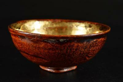 G1377: Japanese Old Ohi-ware Red glaze TEA BOWL Green tea tool Tea Ceremony