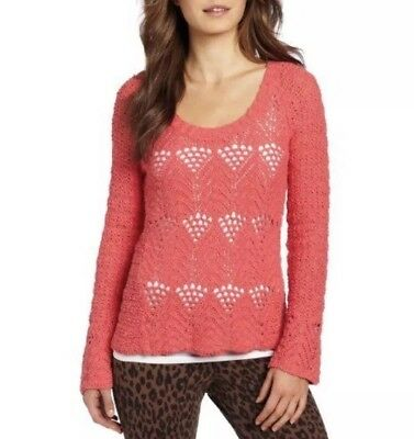 eb21f9329ca95 Women s Lucky Brand Crochet Sweater Coral Calypso Jane Pullover Size Medium  NWT