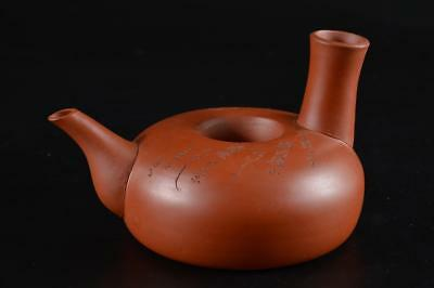 G1327: Japanese Tokoname-ware Brown pottery SAKE KETTLE Bottle Choshi Tetsubin