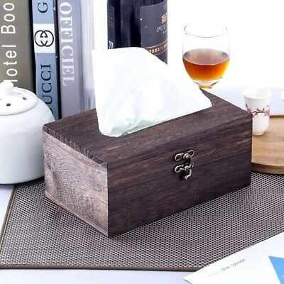 Wooden Retro Tissue Box Cover Paper Napkin Holder Case Home Car Decor #AM8