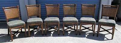 Six Mcguire Rattan And Rawhide Noe Dining Chairs Double Caned Back Fabric Seat