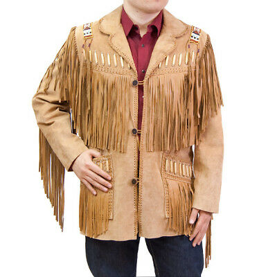 Cappotto Giubbotto Cowboy Indiano Frange Western Scamosciato Giacca PymnvwO8N0