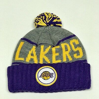 fe2bce36f07cc2 Mitchell & Ness Los Angeles Lakers Cuffed Winter Pom Knit Beanie Hat Cap