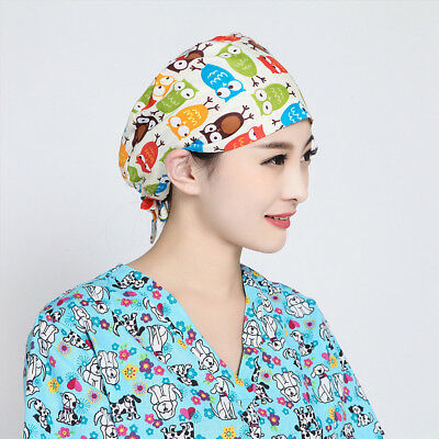 Unisex Doctor Nurses Printing Scrub Cap Mask Medical Surgical Surgery Casual Hat