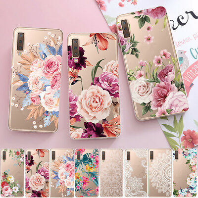 For Samsung Galaxy A7 2018 S9 S8 Slim Soft Clear Flowers Painted TPU Case Cover