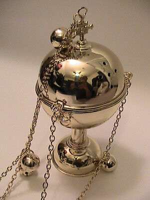 Ethiopian Incense Censer Gold Plated Bells Chains Church Liturgy High Polished