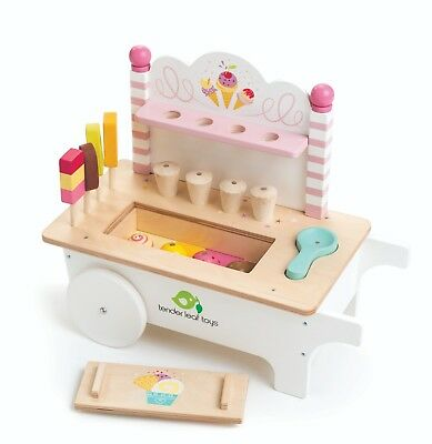NEW Tender Leaf Wooden Ice Cream Lollies Cart Wood Toy Tenderleaf