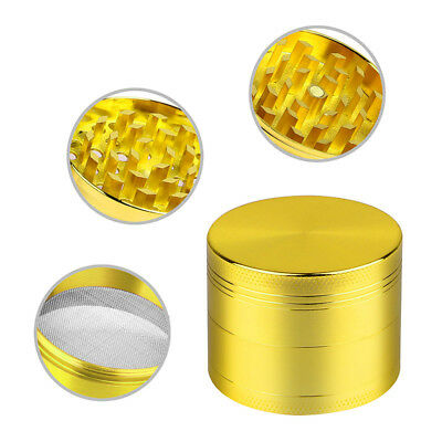 Gold Tobacco Herb Spice Grinder 4 Piece Herbal Smoke Zinc Alloy Metal Crusher