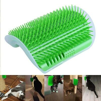US Pet Cat Self Groomer Brush Wall Corner Grooming Massage Comb With Catnip