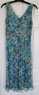 Hobbs Blue Floral Silk Dress Size 8 Lined Tie Front or Back