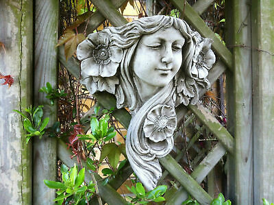 Garden Stone Art Nouveau Lady,Wall Hanging Ornament Planter,Beautiful Stone Lady