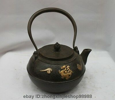 Archaic Japanese Iron Silver Gilt Phoenix Bird god Flagon Kettle Wine Tea Pot
