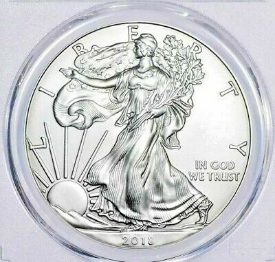 2018 PCGS FIRST DAY OF ISSUE MS70 AMERICAN EAGLE GEM $1 SILVER DOLLAR~.999~1 oz