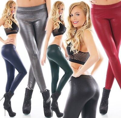 Damen Leggings Hose Thermo Wet Look Leder Optik Glanz Schimmer gefüttert