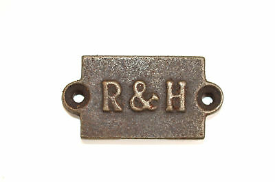Small vintage style cast iron R&H plaque