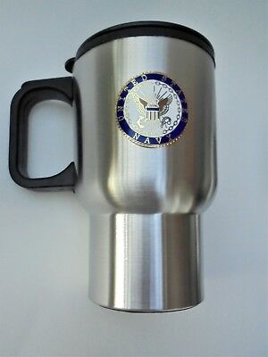 Travel Mug US Navy Veteran Stainless Steel Insulated 14 ounce