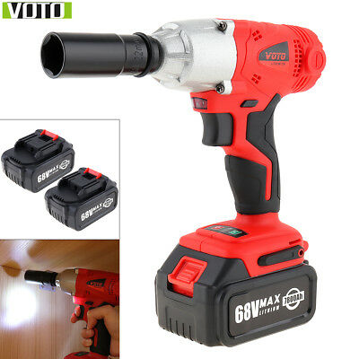 68V Electric Cordless Two-speed Impact Wrench Driver Heavy Duty with 2 Batteries