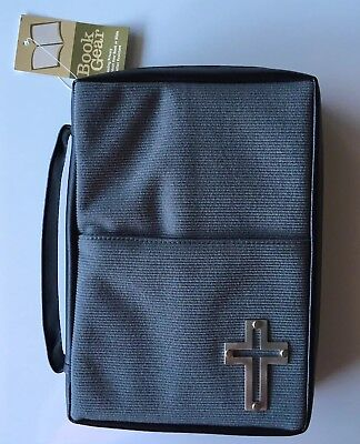 Gray Bible Cover Carrying Case with Cross