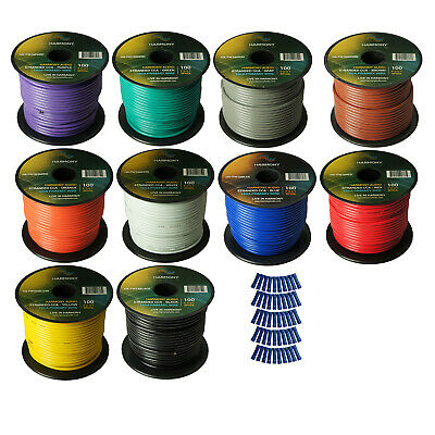 Harmony Car Primary 16 Gauge Power or Ground Wire 1000 Feet 10 Rolls Multi Color