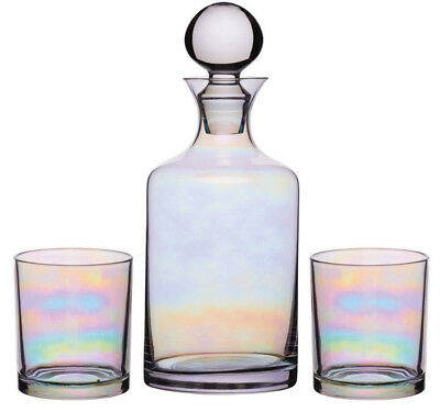 Kitchen Craft Iridescent Glass Whisky Drinks Decanter Set with 2 Tumbler Glasses