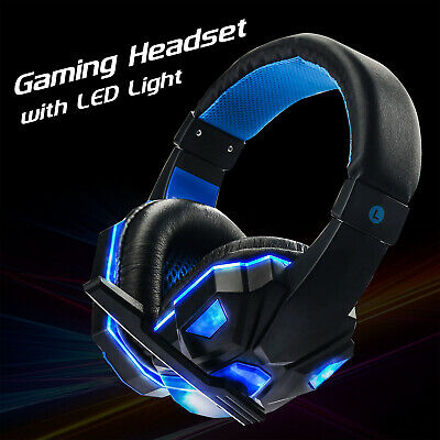 3.5mm Spiel Gaming Kopfhörer Headset mit Mikrofon LED Surround Sound Stereo Bass