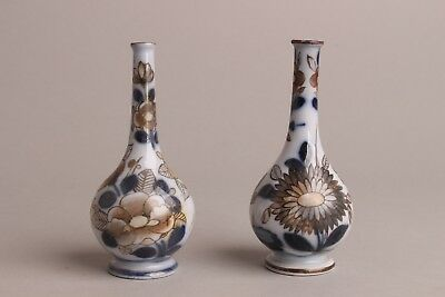 Nice Pair of Antique Imari style Bottle vases, 18th /19th century English.