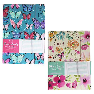 2019 Diary A6 Ladies Organiser Diary Floral Butterfly Design Magnetic Clip