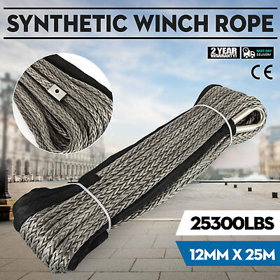 12MM X 25M Synthetic Winch Rope Cable 11.5T/25300LBS Strength Colorfast Climbing