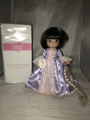 Brunette Rapunzel - Precious Moments Vinyl Doll New In Box With Stand