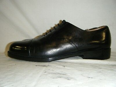 Mens Black Leather Parade Shoes British Army RAF Cadet With Toe Cap Size 11.5 L