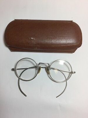 Vintage Shuron Silver Wire Rimmed Glasses With Case