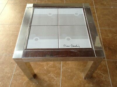 Pierre Cardin Vintage Mid Century Modern Chrome & Tile Side Table