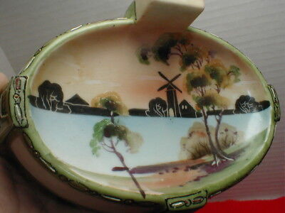 ANTIQUE HAND PAINTED IMPERIAL NIPPON - SCENIC DUTCH - PIPE REST w/ MATCH HOLDER
