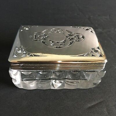 Very Old Russian Antique Glass Box / 84 Silver Lid