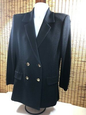 St. Johns Marie Gray Evening Jacket Skirt Shell Top Suit Santana Knit 3 P 6 Navy