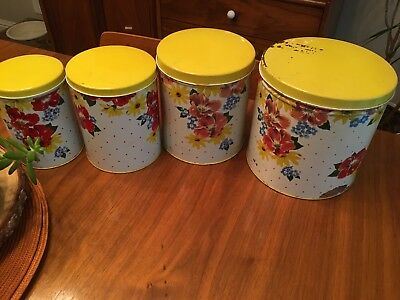 Vintage Yellow Tin Canister Set Flowers Red Floral Shabby Metal Kitchen Decor