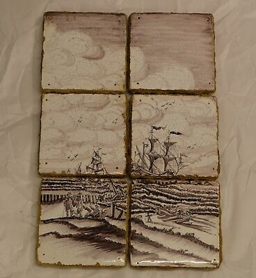 Old Dutch Delft Tilepicture Manganese, Vintage Hard to Find with VOC Ships