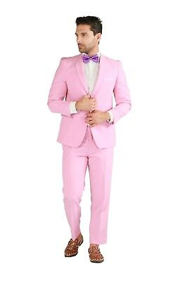 New Mens Pink Christmas Party Suit TUXXMAN Fashion Slim Fit Holiday SALE