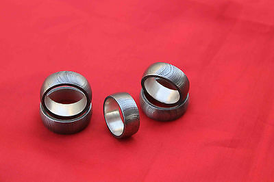 Custom  Made (Lot Of 5 ) Damascus Steel Ring With Silver Liner Inside Size 8-12